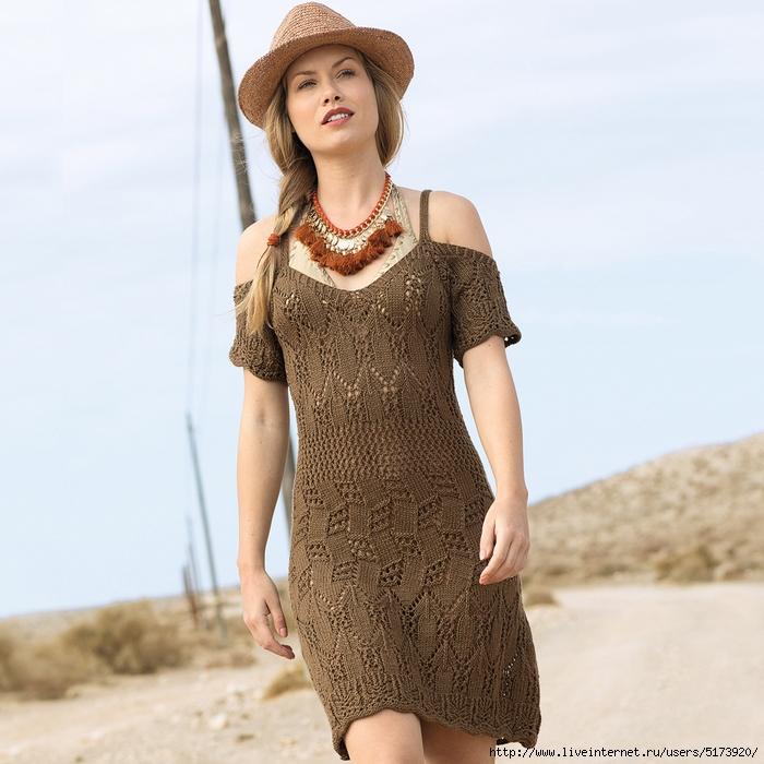 Коричневое летнее платье.