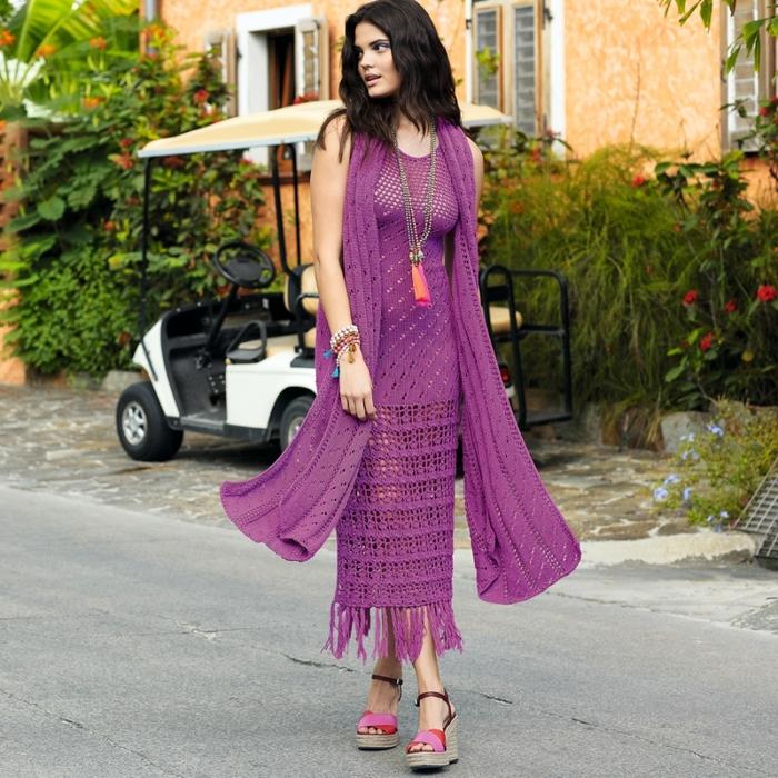 60f2a01e9f7 Очаровательное ажурное платье и шарф цвета фуксии