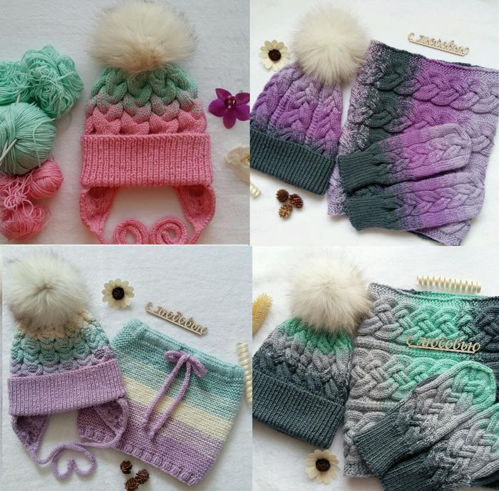 вязание шапки и комплекты с градиентом и сложными косами подборка