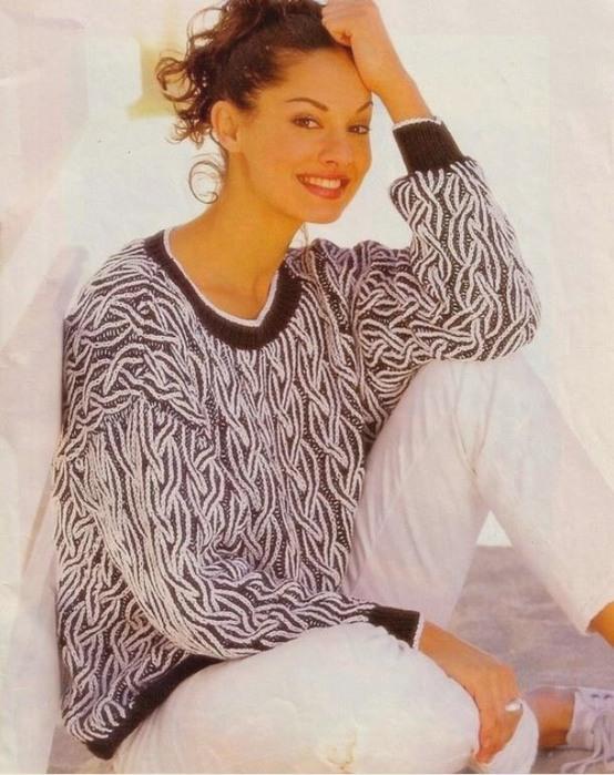 модели пуловеров в технике бриошь выполненных спицами