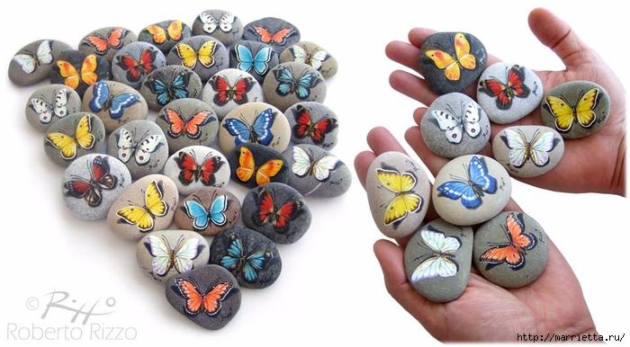 Художественная роспись. Бабочки на камне (2) (700x386, 214Kb)