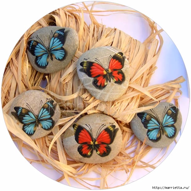 Художественная роспись. Бабочки на камне (620x620, 221Kb)