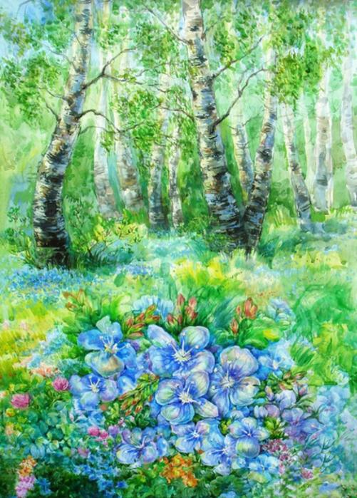 рисунок лесная поляна красками сначала