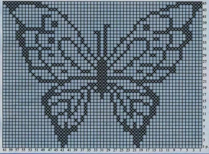 вязание крючком филейное вязание филейные бабочки 43 схемы