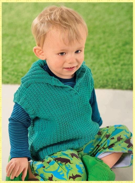 бирюзовый жилет с воротником для мальчика вязание спицами