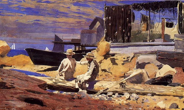 Waiting for the Boats, 1873 (648x386, 356Kb)