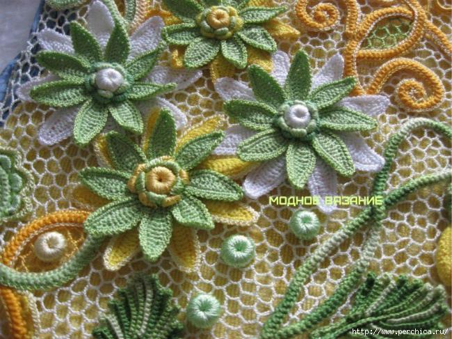 Цветы крючком схема и описание ирландское кружево фото 538
