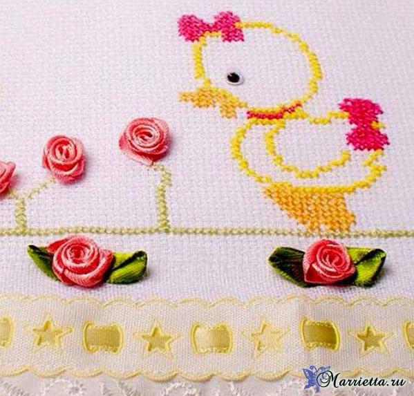 Уточки на полотенце. Схема детской вышивки (2) (599x573, 314Kb)