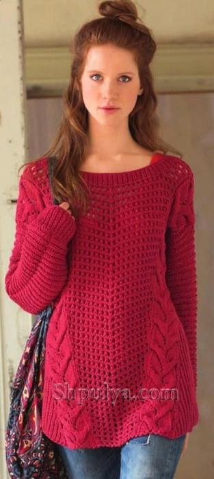 Вязание спицами пуловер с описанием
