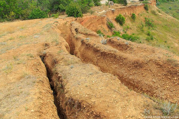 Вертикальные трещины в береговом обрыве это результат современных геологических процессов - разгрузка склонов. Разгрузка никогда не прекращается, а от дождей резко усиливается, порода становится тяжелее.