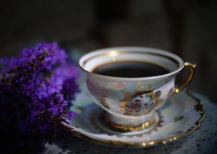 Вечерний кофе открытки, надписью активном