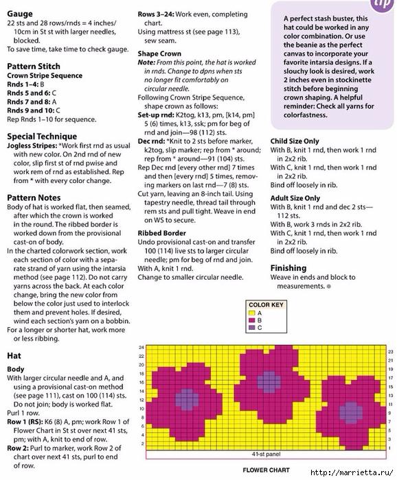 Детский плед и шапочка спицами цветочным узором (2) (578x700, 340Kb)