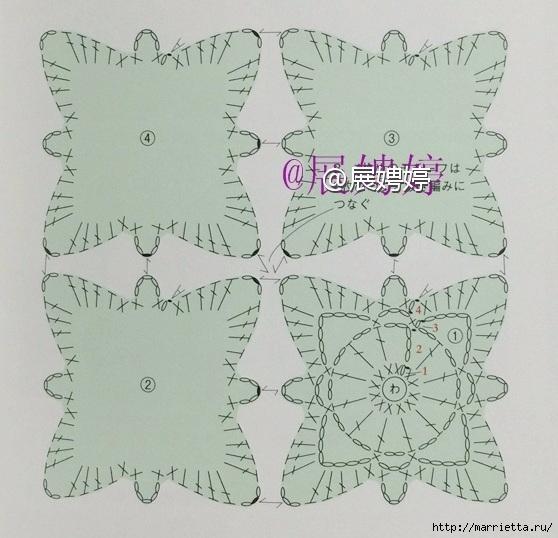 Вязание шарфика квадратными мотивами. Схема (2) (558x538, 186Kb)
