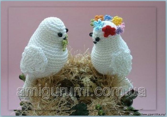 вязаные голубь и голубка с гнездом обсуждение на Liveinternet