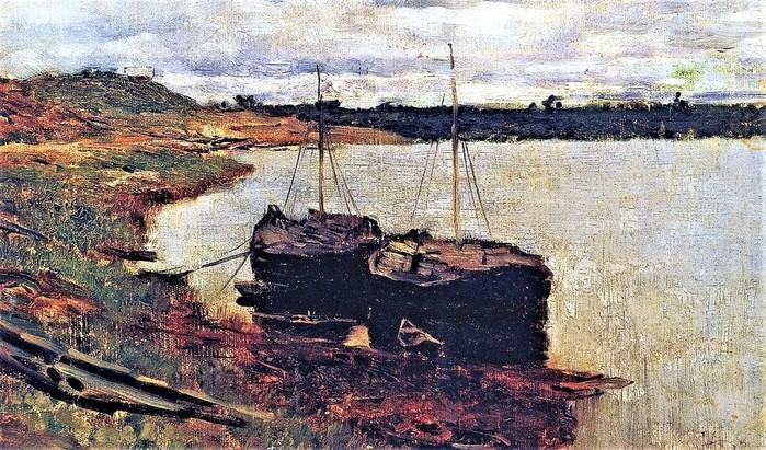 Баржи. Волга 1889 (700x411, 156Kb)