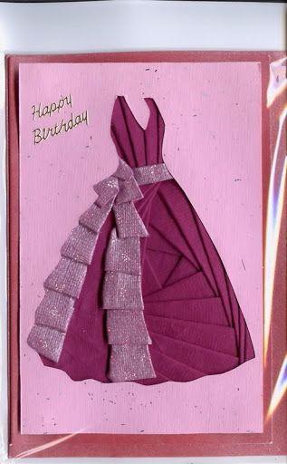 Картинки, как сделать платье из ленты на открытке