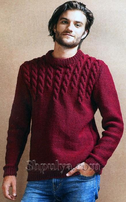 бордовый мужской пуловер с узором из кос обсуждение на Liveinternet