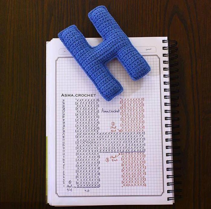 крючком буквы фото вязание схема