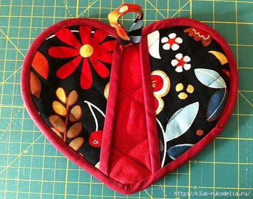 Сшить прихватку сердце