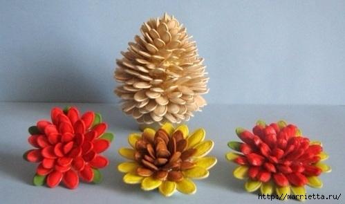 Цветы из шишек, семечек, листьев кукурузы, фисташек и макарон (14) (499x295, 87Kb)