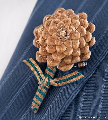 Цветы из шишек, семечек, листьев кукурузы, фисташек и макарон (30) (420x467, 168Kb)
