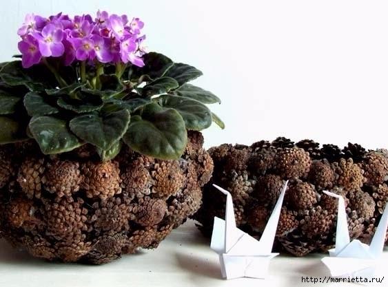 Цветы из шишек, семечек, листьев кукурузы, фисташек и макарон (33) (563x417, 133Kb)
