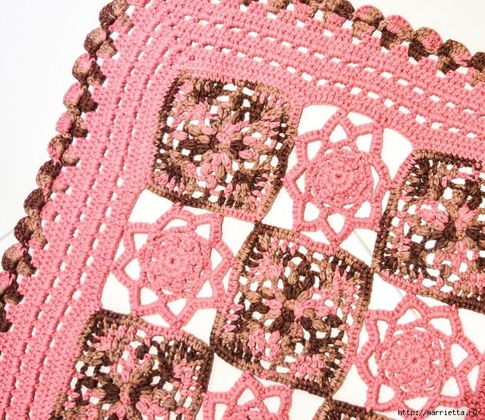 Крючком. Розовый коврик из мотивов (3) (700x606, 493Kb)