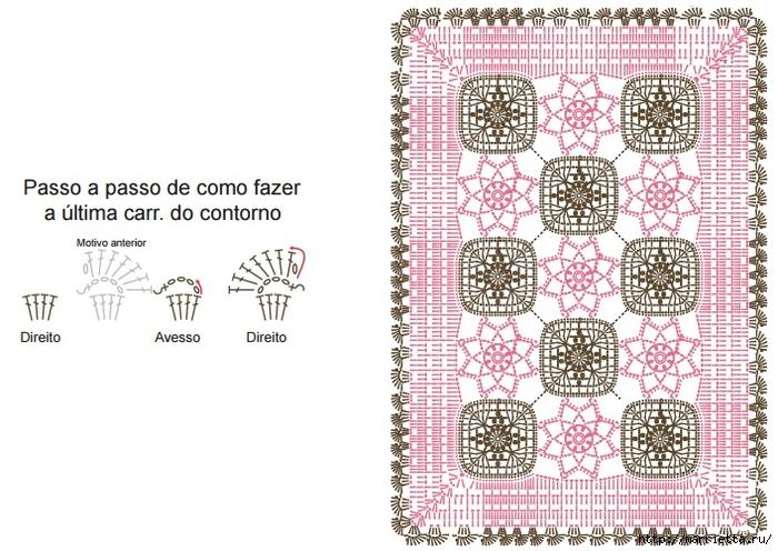 Крючком. Розовый коврик из мотивов (5) (700x496, 280Kb)