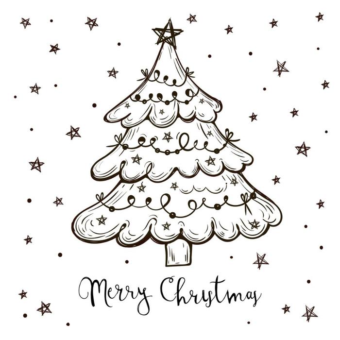 Желаю, новогодняя открытка черно белые