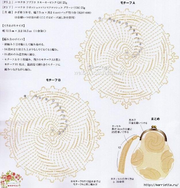 Кошелек-косметичка крючком для имеющегося фермуара (2) (626x654, 335Kb)