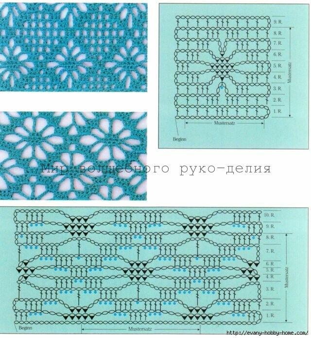 красивые ажурные квадраты крючком со схемами