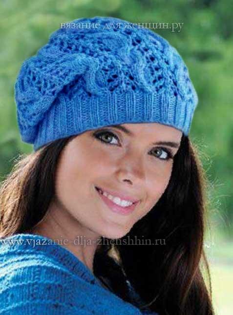 вязание шапочек спицами модели и схемы