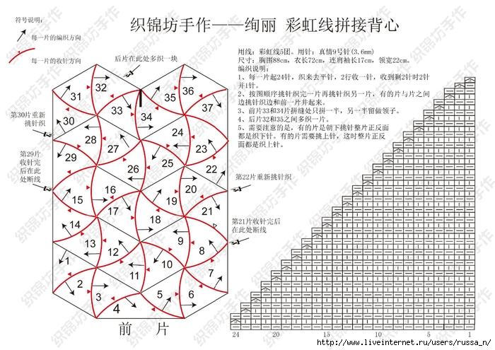 Схема вязания пэчворк ракушка