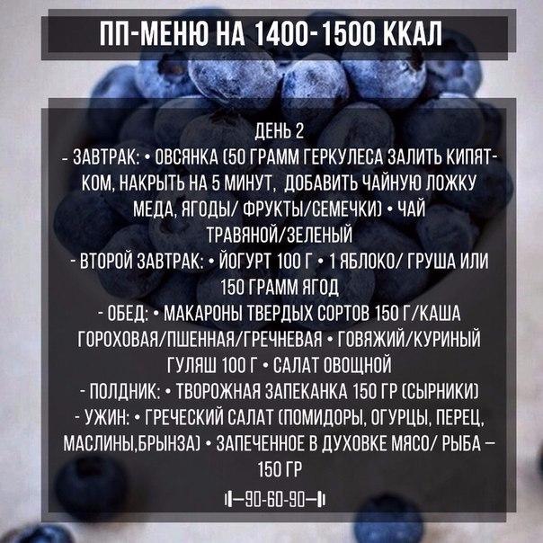 диета на 1400 ккал в день