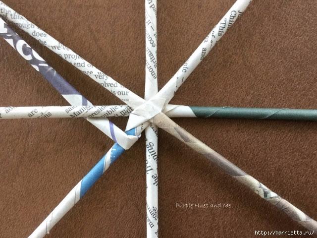 Плетение из газет корзинки-паутинки. Фото мастер-класс (7) (640x480, 224Kb)