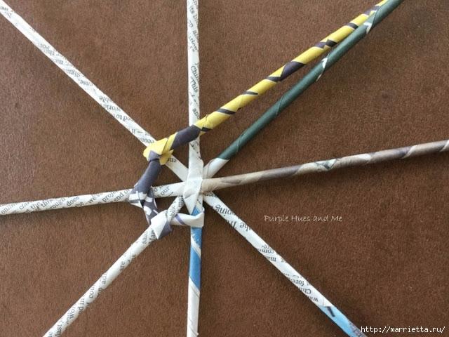 Плетение из газет корзинки-паутинки. Фото мастер-класс (9) (640x480, 219Kb)