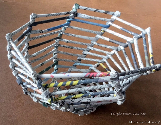 Плетение из газет корзинки-паутинки. Фото мастер-класс (15) (640x496, 266Kb)