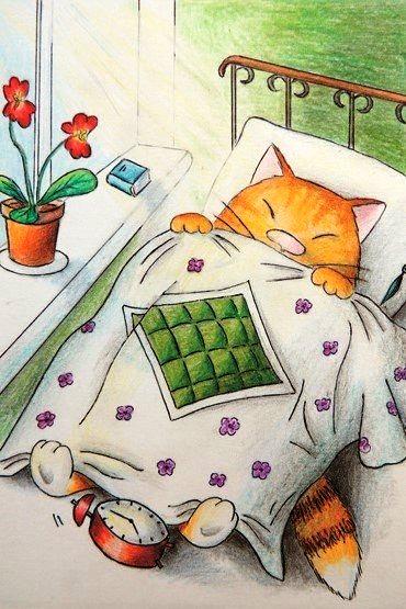 Плакаты, доброе утро кот картинки мультяшная
