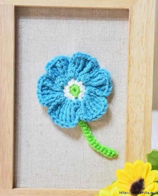 Декоративное панно с вязаными цветочками (12) (513x635, 258Kb)