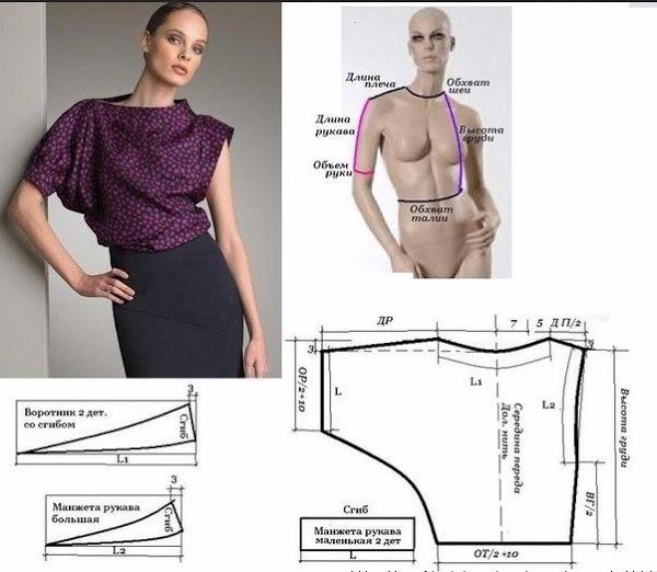 Выкройка блузка ассиметричная 50