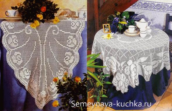 схемы вязания крючком скатертей покрывал штор