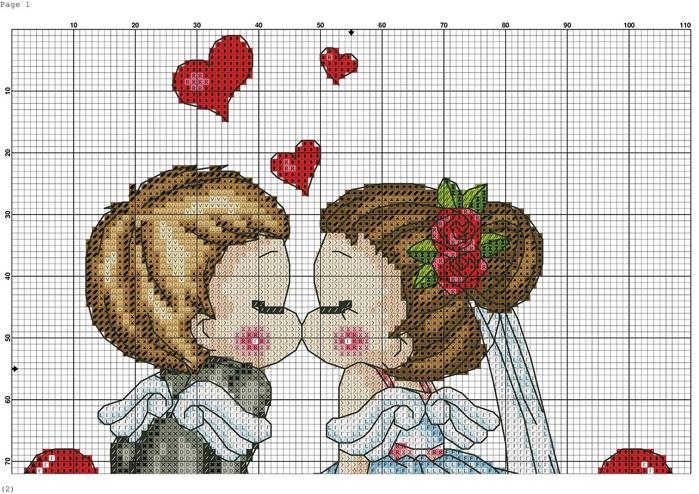 Вышивка крестом свадебных открыток, пожеланиями работе