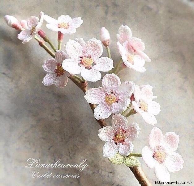 Вязаные украшения handmade. Веточка цветущего абрикоса (4) (627x603, 258Kb)