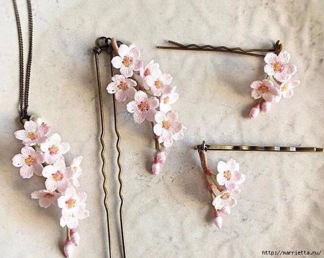 Вязаные украшения handmade. Веточка цветущего абрикоса (8) (659x525, 254Kb)