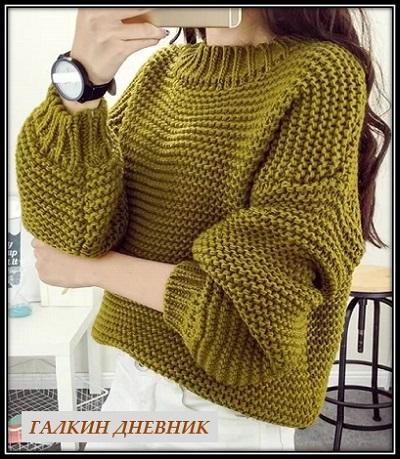 5612e3f994cf Красивый и теплый пуловер связанный спицами простой платочной вязкой ...