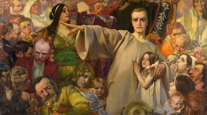 1902 Offenbarung. Откровение. Автопортрет. Х, м. 122х228 см. (700x388, 111Kb)