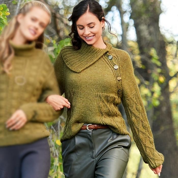 Оливковый свитер с рукавом реглан трапециевидной формы