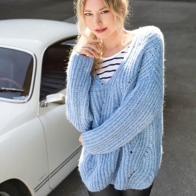 Объемный пуловер из мохера