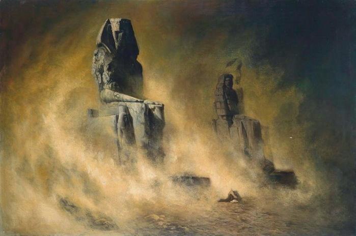 1896 Колоссы Мемнона во время песчаной бури. (700x464, 84Kb)