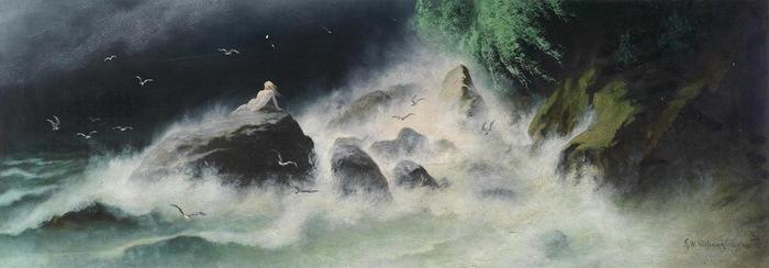 NEW Вопрос к звёздам. 1899 г. Картон, масло. 37 х 100 см. Аукцион  Dorotheum, 2013 г. (700x244, 52Kb)